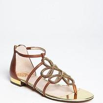 New Womens Vince Camuto Harissa Whiskey Leather Gladiator Cage Thong Sandals 6.5 Photo