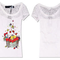 New Womens Vogue Love Moschino 3d Roses Flowers Bath White Fashionable T-Shirts Photo
