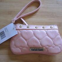 New Wristlet Mini Handbag Betsey Johnson 58 Retail Hearts Be Mine Blush Pink Photo
