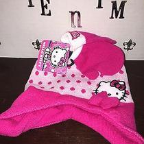 New Wt Hello Kitty Sanrio Kid's Pink/ White Knit Cap/ Hat Matching Knit Mittens Photo