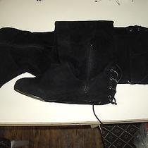New Wtag Avon sz7.5 Blck Gen Suede Cush Micro Wedg 0-Skid o'r Knee Boot Lace Zip Photo