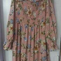 New Xhilaration Size Extra Large Women's Blush Pink Floral Smocked... Photo