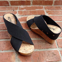 New Xoxo Black Canvas Textile Bandage Wrap High Wedge Slide Sandals Ladies sz.7m Photo