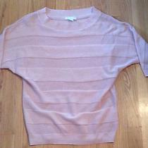 New York and & Company Crochet Stripe Half Sleeve Slub Career Sweater Blush Pink Photo