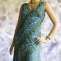 New York & Company Animal Print Lined Dress Sz 10 Sheer Poly Chiffon Blue Gold  Photo