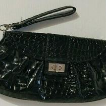 New York & Company Black Moc Croc Faux Patent Leather Handbag Clutch Wristlet Photo