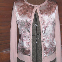 New York & Company Blush Pink Cardigan W/printed Front & Silver Buttons Sz S Photo