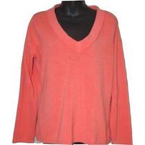 New York & Company ny&co Coral Blush v-Neck Acrylic Sweater Size Large L Photo
