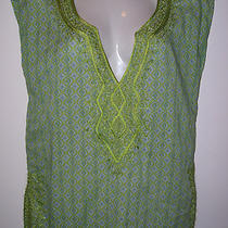 New York & Company Vibrant Embroidered Tunic Green Aqua White 100% Cotton Euc Photo