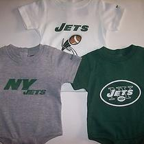 New York Jets Bodysuits 3pc Set 0-3 Mos Team Nfl Reebok Cotton Poly Assorted Nwt Photo