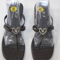 New York Transit Ladies Heart Rhinestone Sandals Brown Croc Shoes Size 9m New Photo