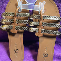 New Yosi Samra Corey Women's Gold Snake Metallic Leathersz Us 10sandal Photo