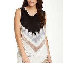 New Young Fabulous & Broke Swept Asymmetrical Top (M) Black Macaw Draping Tunic Photo