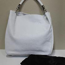 New Ysl Saint Laurent White Crinkled Leather Roady Large Hobo Bag Tote Handbag Photo