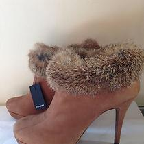 New Yves Saint Laurent Fur-Cuff Platform Bootie Ysl 37.5 Photo