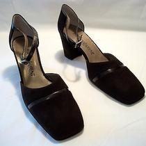 New Yves Saint Laurent Made in Italy Brown Fine Suede Strap Heels Size 7.5 M Photo