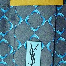New Yves Saint Laurent Ysl Silk Tie Dolphins Gray Aqua Nwot Photo