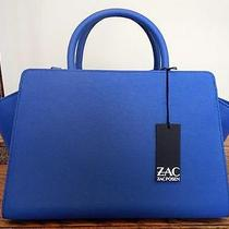 New Zac Posen East/west Eartha Saffiano Leather Satchel-Blue-525 R-Handbag-Tote Photo