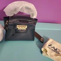 New Zac Zac Posen Eartha Iconic Small Cross Body Top Handle Mini Blue Navy Bag Photo