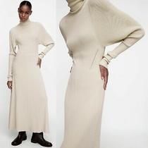 New Zara Beige Turtle Mock Neck Long Sleeves Knit Elegant Maxi Sweater Dress M Photo