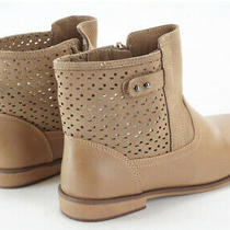 New Zara Brown Taupe Suede Hollow Leather Zip Up Ankle Boots Sz38(fit Adult 7) Photo
