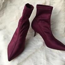 New - Zara Dark Pink- Burgundy Fabric Boots Booties Size 38 7.5 Us Photo