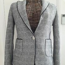 New Zara Fitted Smart Black/white Blazer/jacket Size 12 (M) Photo