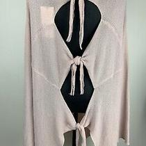 New Zara Knit Sz L Soft Pink Blush Jumper Sweater Tunic Dress Top Tie Back Throw Photo