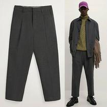 New Zara Men Charcoal Gray Grey Tapered Fit Pleated Pants Medium 60 Photo