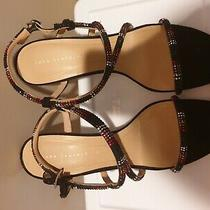 New Zara Multi-Color Rhinestone Embellished Strappy High Heel Sandals Shoes Photo