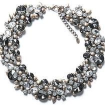 New Zara Necklace With Flowers and Strass Stone Crystal Statement Collar Bead Photo