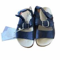New Zara Size 10.5 Leather Navy Sandals Photo