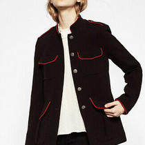 New Zara Trf Black/red Hemming Military Blazer Jacket Embossed Button Szxs Photo