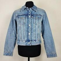 New Zara Womens Size Small Denim Jacket Faux Shearling Lining Trucker Blue S Photo