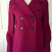Newbanana Republic Magenta Pink Double Breasted Wool Blend Pea Coat Jacket Sz Xs Photo