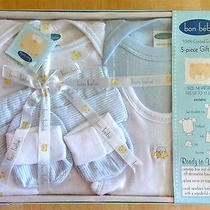 Newborn Baby Boy (Blue) 5pc Gift Set Box Bon Bebe Bodysuit -Tee -Booties -Bib Photo