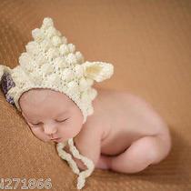 Newborn Baby Infant Handmade Knitted Crochet Lamb Hat Photo Photography  Photo