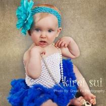 Newborn Baby Infant Royal Blue Pettiskirt Tutu 0-6 Wz2b Photo