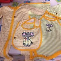 Newborn Five Piece Gift Set Elephant Bib Blanket Hat Sleeper Onesie 0-3m Photo
