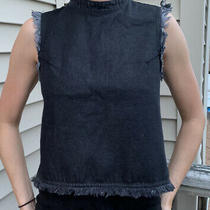 Newgap Black Denim Zipper Back Mock Neck Tank Top Womens Size Xs Fits Size S Photo