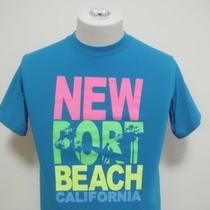 Newport Beach California Throwback Vintage Neon Colors Aqua Blue Small T-Shirt Photo