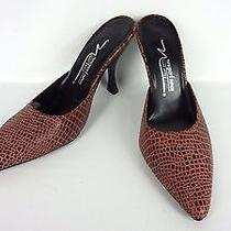 Newport News Brown Croc Leather Slip on Mules Heels Women Shoes Size 7 M Photo