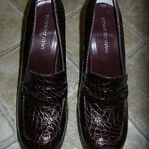 Newport News-Burgundy-Faux Croc-Fine Leather-High Heel Loafers-7.5m-Nwob Photo