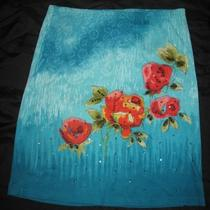 Newport News Womens Aqua Blue Floral Sequin Skirt S Small Photo