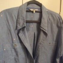 Next Blue Chambray Cotton Shirt Size 16 Rose Gold Finish New No Tags Photo
