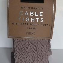 Next Blush Pink Mix Warm Soft Touch Modal Cabled Winter Tights L Xl Bnwt Photo