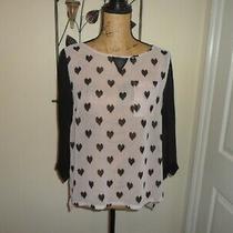 Next Ladies Blouse Top Black & Blush Heart Chiffon Size 12 Ex Con Photo