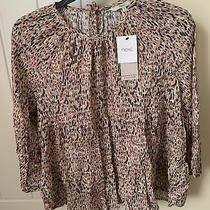 Next Ladies Blush Pink Long Sleeve Top With Black and Cream Detail - Size 14 Photo