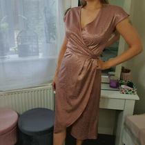 Next Size 10 Pink Rose Gold Satin Wrap Dress Midi Snakeskin Animal Print 12  Photo