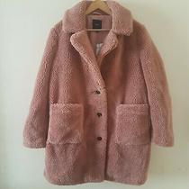 Next Women Blush Teddy Borg Coat Jacket Warm Longline Overcoat Size 16 Photo